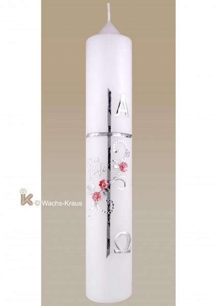 Taufkerze Mädchen silber, Kreuz mit Blume, Alpha und Omega