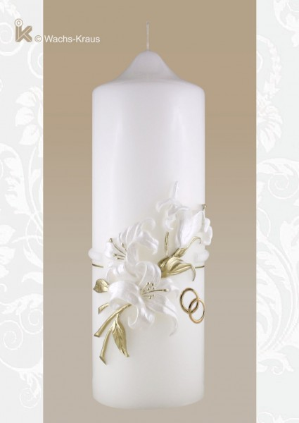 Hochzeitskerze Lilie. Eine wunderbar plastisch modellierte Lilie in dezentem weiß und edlem Gold schmücken diese Hochzeitskerze.