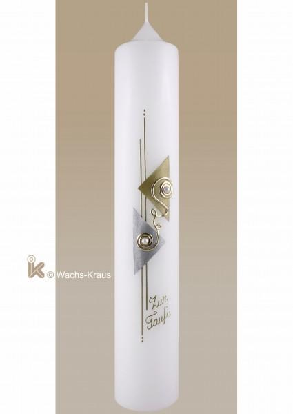 Taufkerze modern neutral für m/w/ mit gold und silber