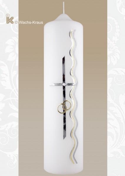 Moderne Hochzeitskerze in silber und Gold. Kreuz und Ringe
