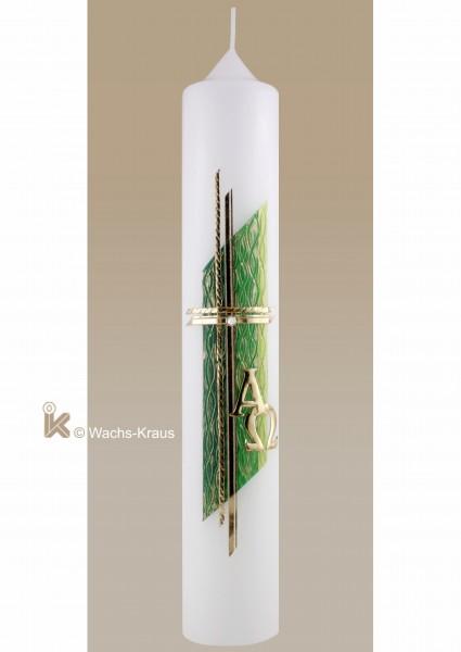 Taufkerze Modern grün und gold
