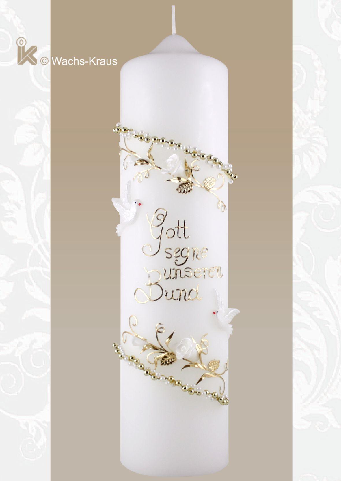 Hochzeitskerze Vintage Style: Gott segne unseren Bund
