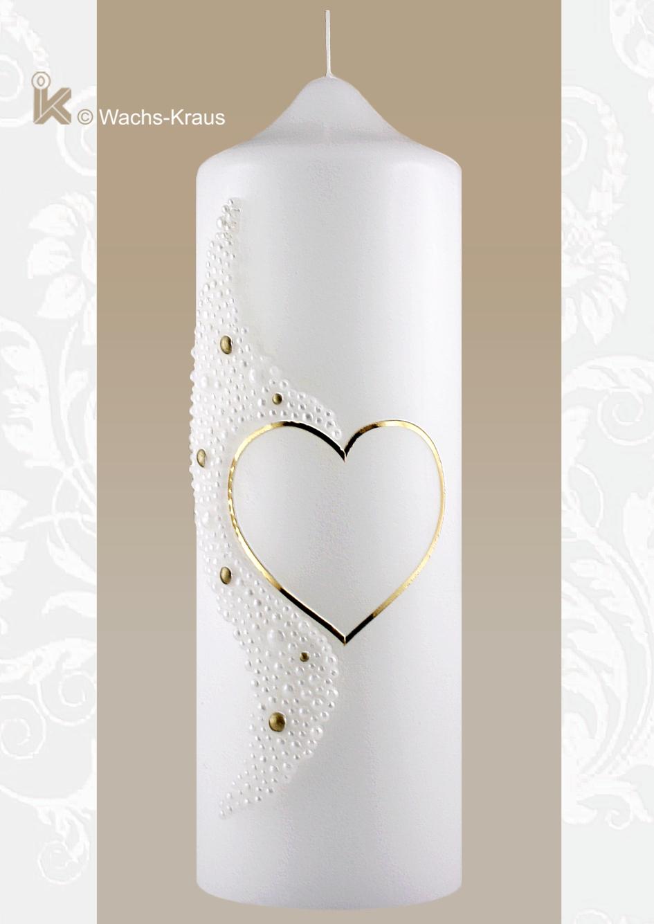 Die halbe Silhouette des Herzens ist mit einem zarten Goldwachsstreifen begrenzt, die andere durch eine modellierte Wachsapplikation Motiv Perlen.
