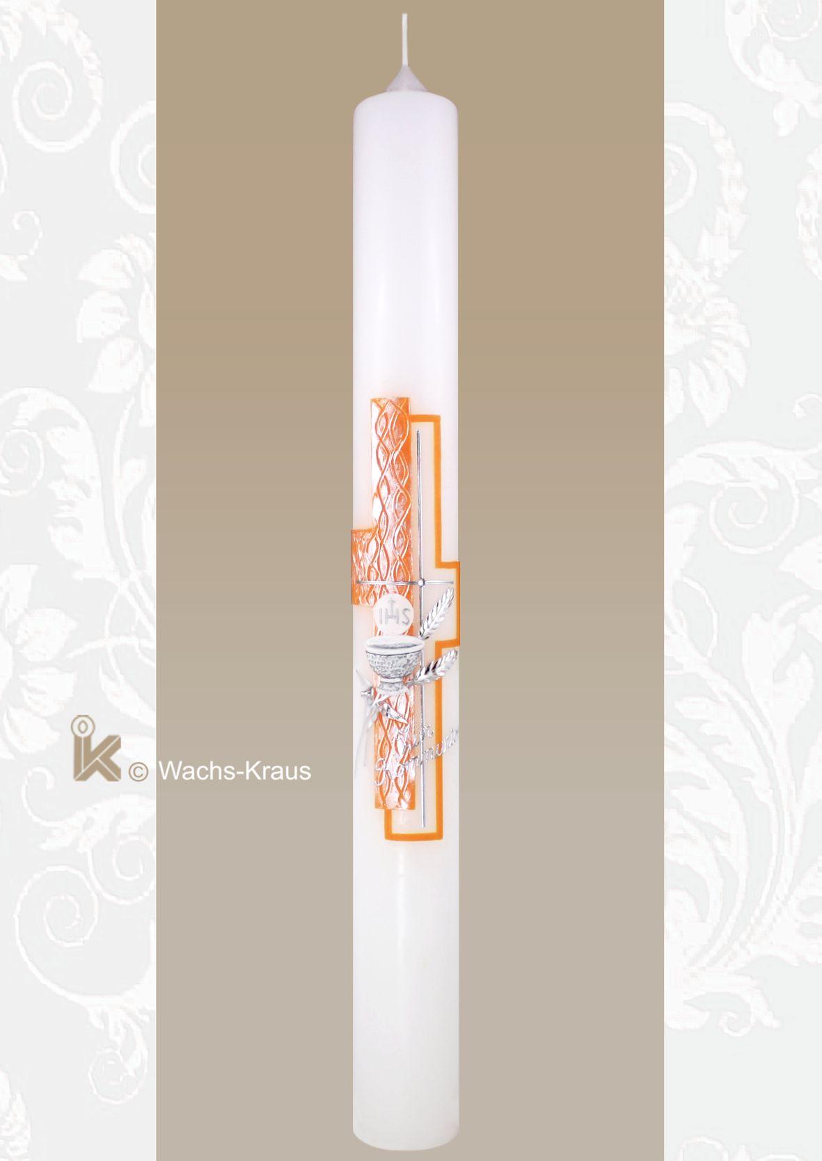Kommunionkerze orange-Silber, Ähren und Kelch