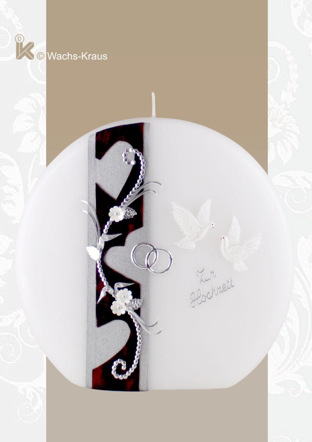 Hochzeitskerze in Scheiben-Form verziert mit Herzen und Tauben