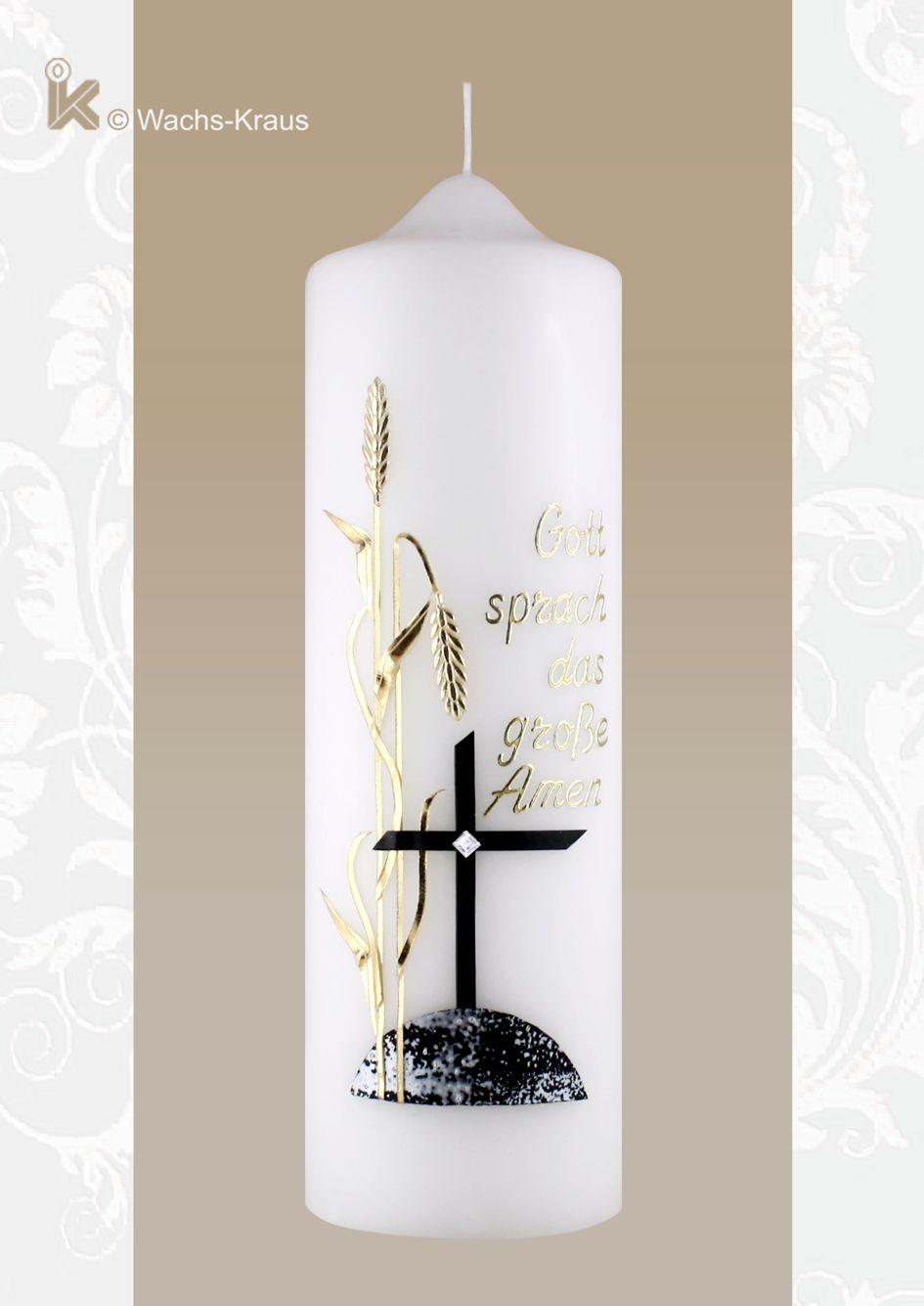 Trauerkerze schwarzes Kreuz, goldene Ähren