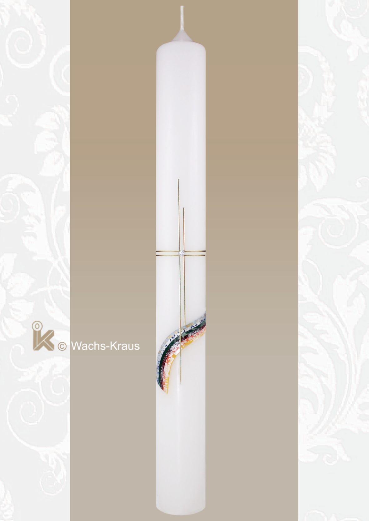 Der farbenfroh aus bunten Wachsplatten gelegte Regenbogen symbolisiert das Verbindende. Kommunionkerze mit Regenbogen und Kreuz.