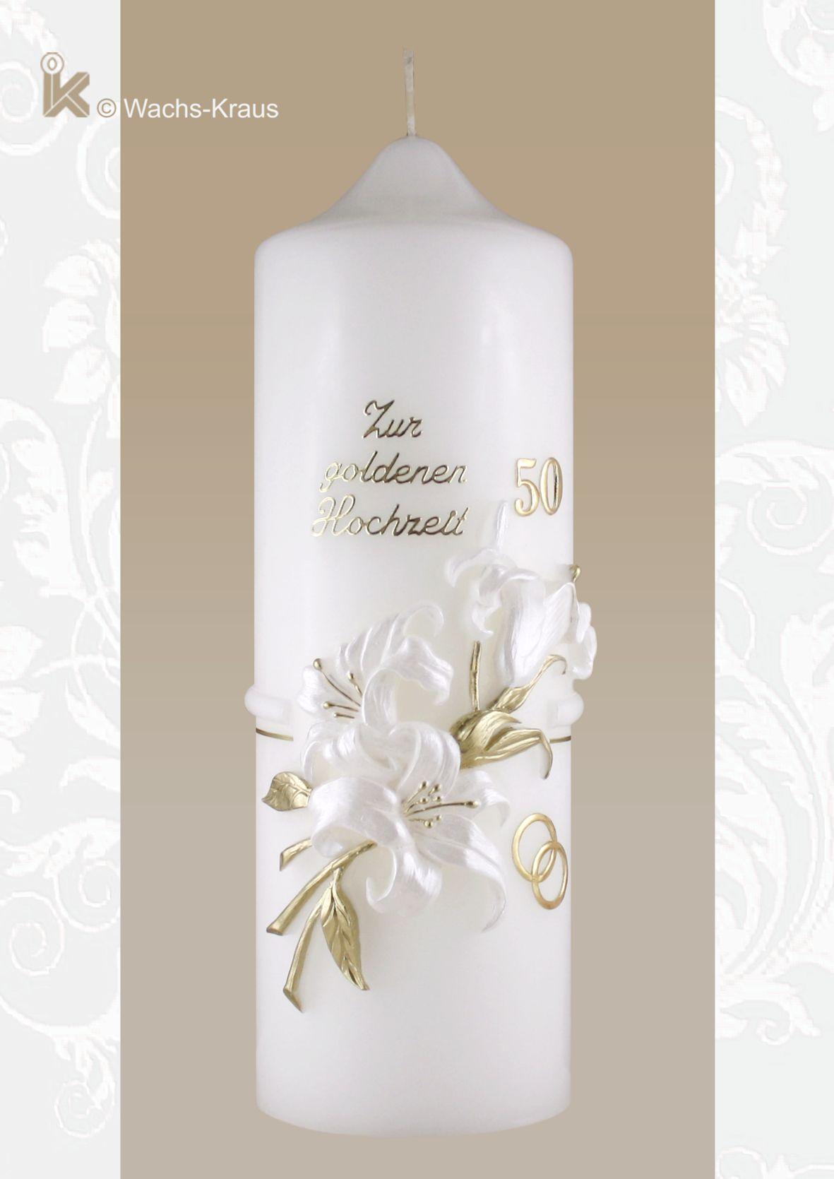 Kerze zur Goldenen Hochzeit mit einer aus Wachs gegossenen, weißen Lilie