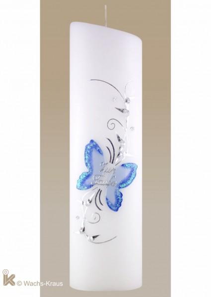 Taufkerze mit Schmetterlings-Motiv, blau-silber