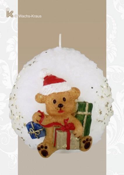 Weihnachtskerze Schneeball, Bär mit Geschenken