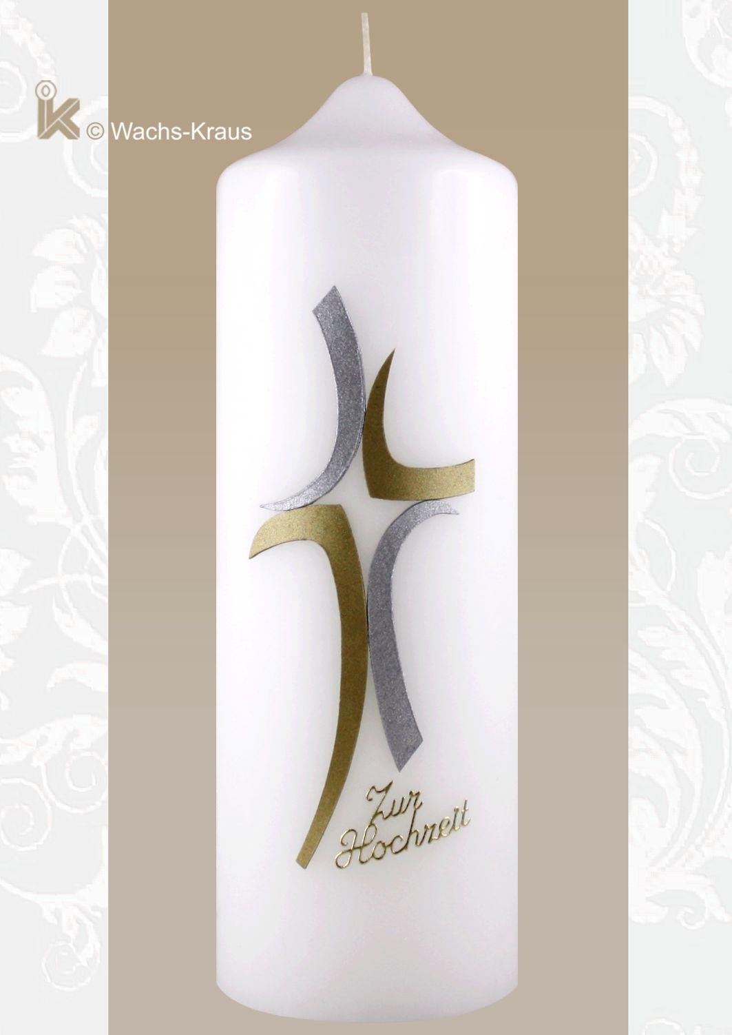 Hochzeitskerze günstig, modernes Kreuz in bicolor