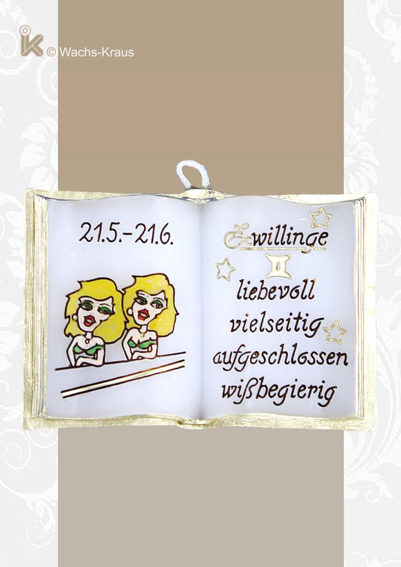 Sternzeichen Zwilling, kleines Wachsbuch, reine Handarbeit