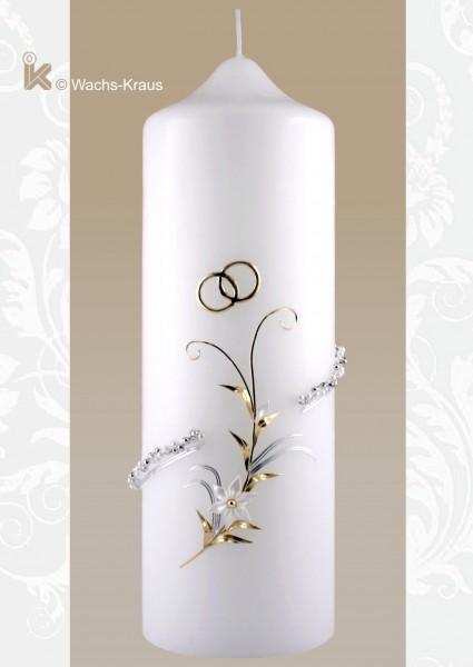 Hochzeitskerze silber-gold Perlen