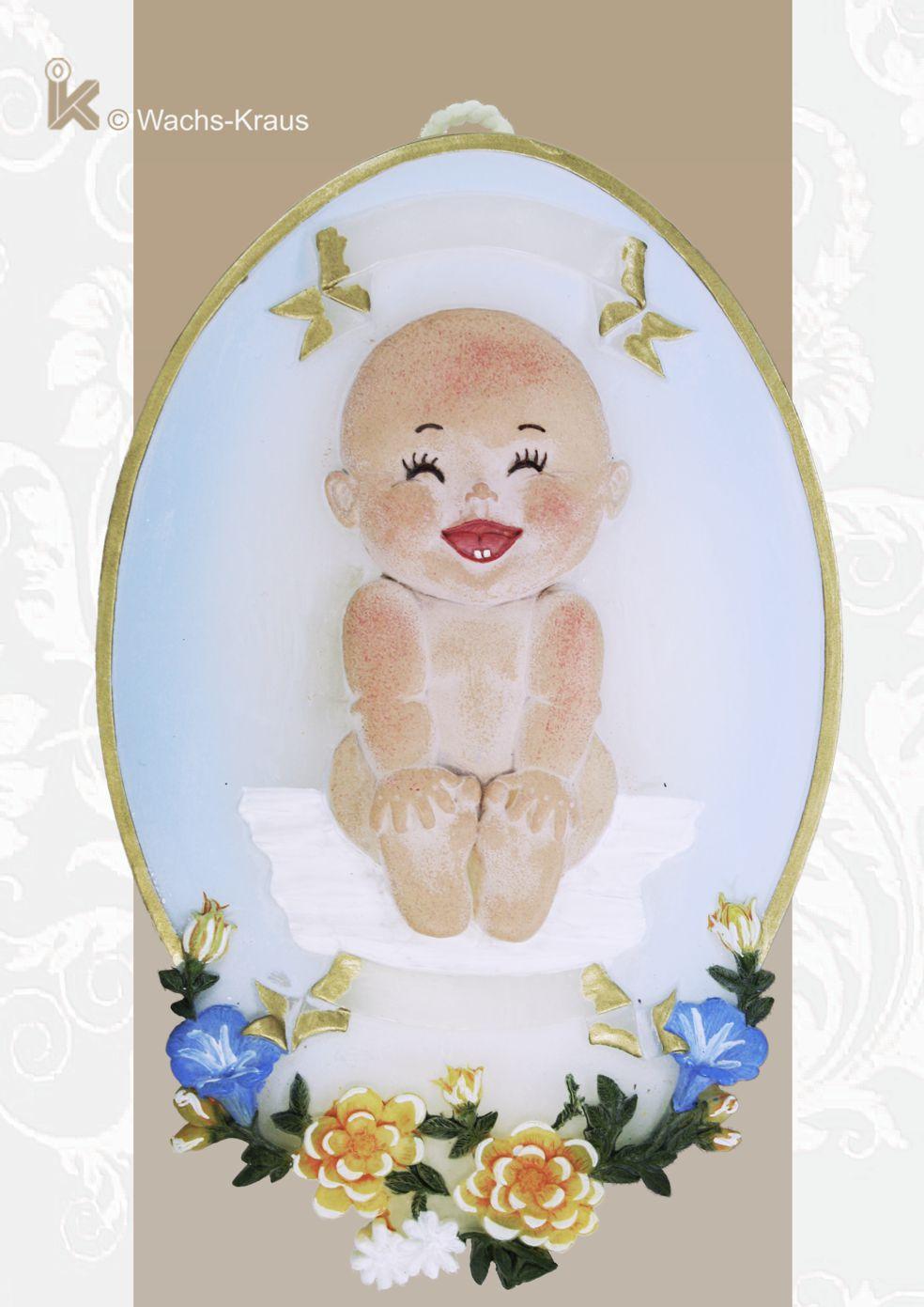 Ein wunderschönes Geschenk: Wachsbild Baby blau
