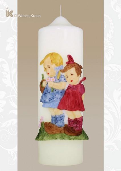 Kerze im Hummel-Stil, zwei Mädchen