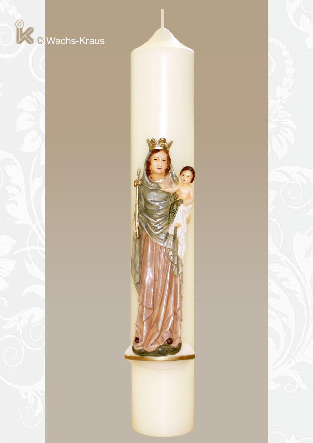 Marienkerze Madonna mit Kind. Wunderschön von einer Wachsbildnerin modellierte und in zarten Pastellfarben bemalte, große Marienkerze.