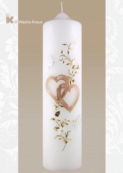 Hochzeitskerze Herzen, apricot gold mit Ranke