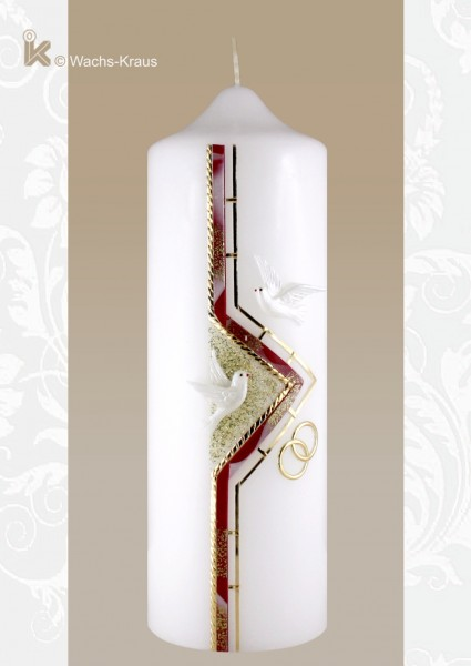 Moderne Hochzeitskerze mit zwei Tauben und Ringen. Rot marmoriert und Gold