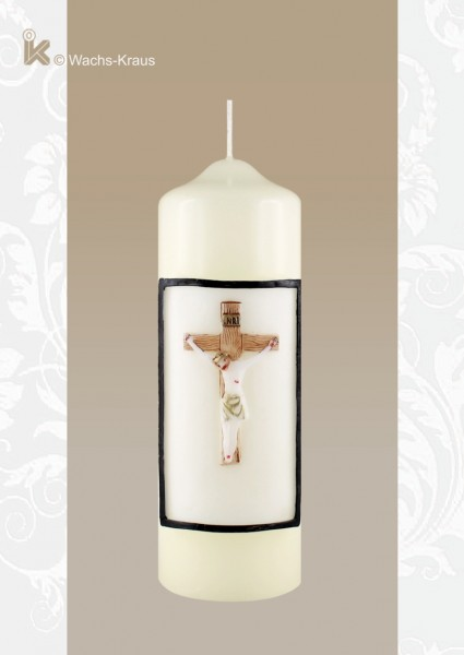 Sterbekerze mit Wachsrelief Jesus am Kreuz