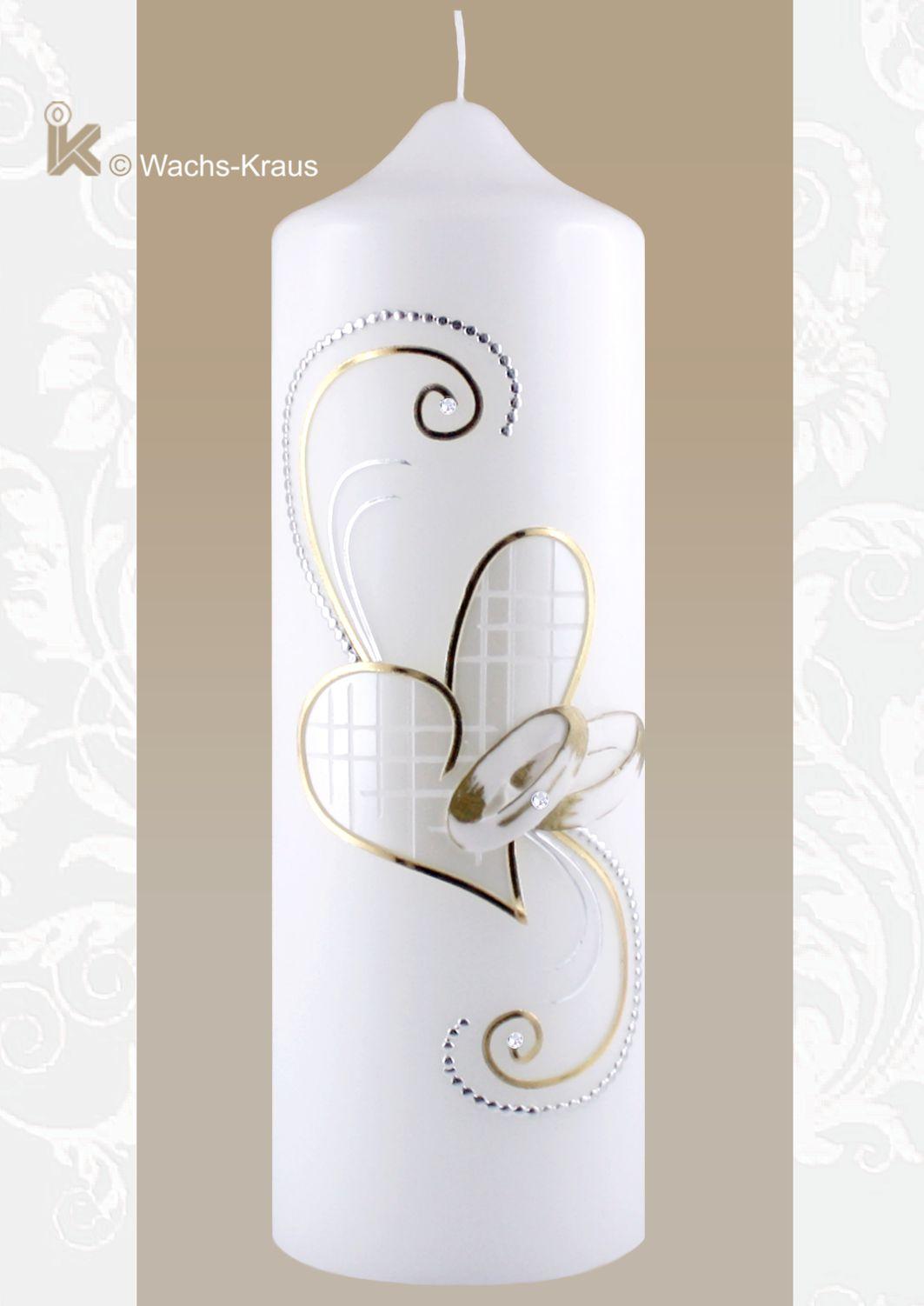 Hochzeitskerze Herz gold und silber mit gegossenen Ringen