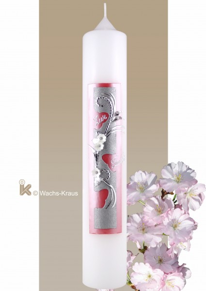 Taufkerze Schmetterling, Mädchen, Perlmutt-rosa und Matt-Silber
