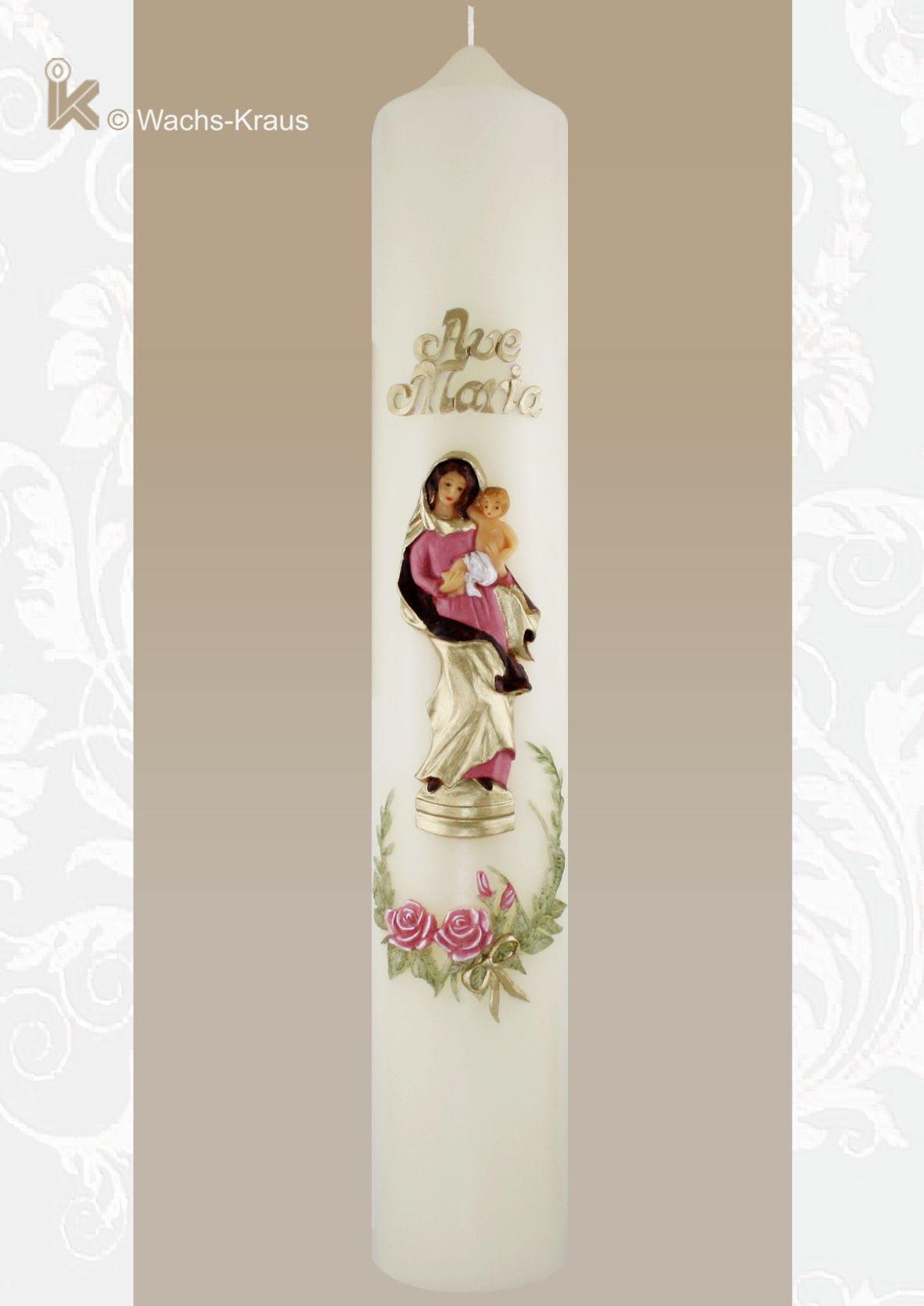 Marienkerze Ave-Maria. Wunderschön und fein modelliert der Schriftzug, die Madonna mit Kind sowie der filigrane Blütenkranz.