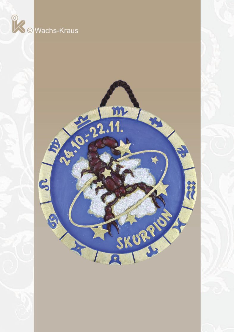 Sternzeichen Skorpion, Relief aus Wachs zum aufhängen