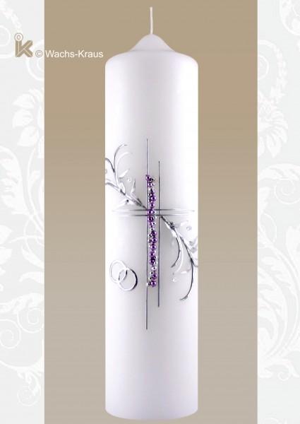 Hochzeitskerze fliederfarben, Silber