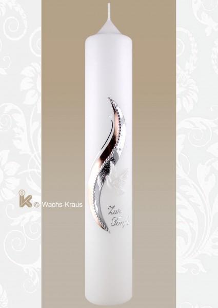 Taufkerze modern rosègold und silber