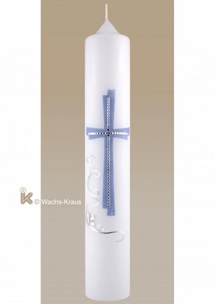 Moderne Taufkerze für Jungen silber-blau