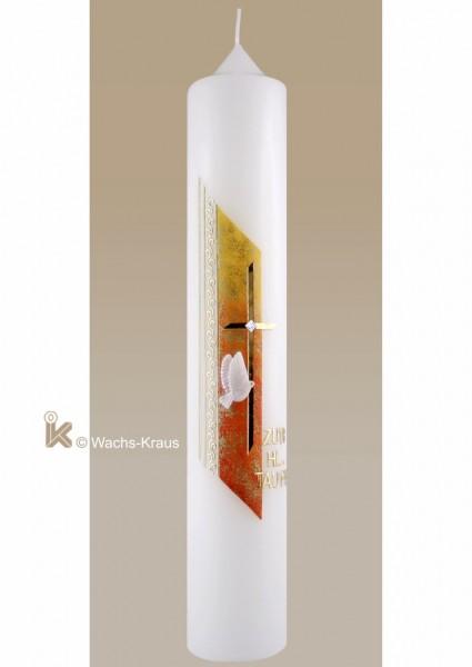 Moderne Taufkerze für Mädchen, gelb-orange gold, Kreuz und Taube