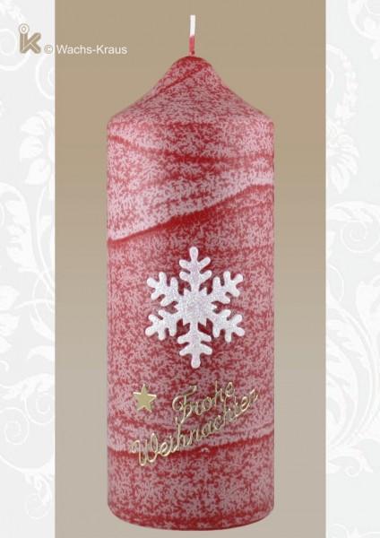 Adventskerze Schneeflocke rot. Bringen Sie Farbe in den Herbst