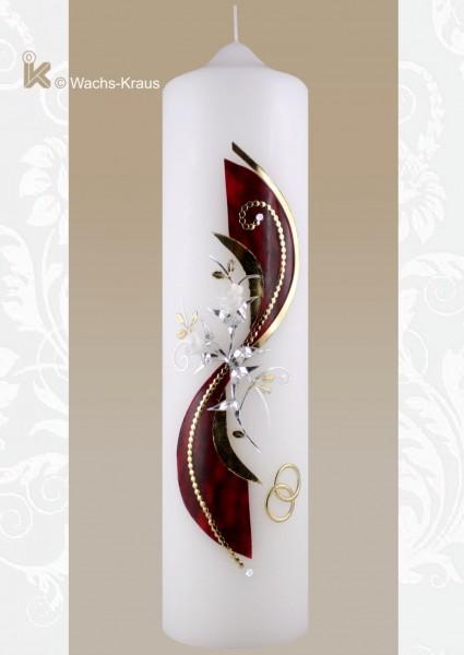 Hochzeitskerze in Silber und Gold modern mit Blüten