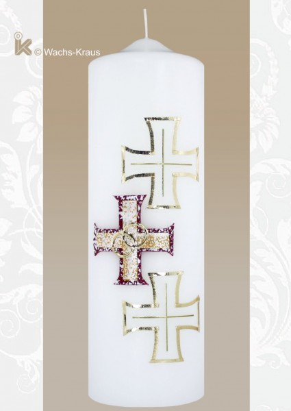 Brautkerze mit drei Kreuzen