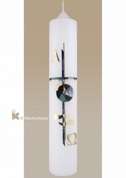 Taufkerze modern, Junge grün-blau-gold, Kreuz