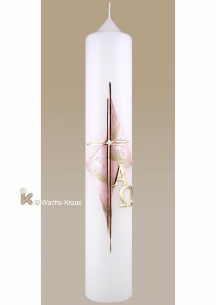 Taufkerze Mädchen klassisch rosa-gold, Kreuz, Alpha und Omega