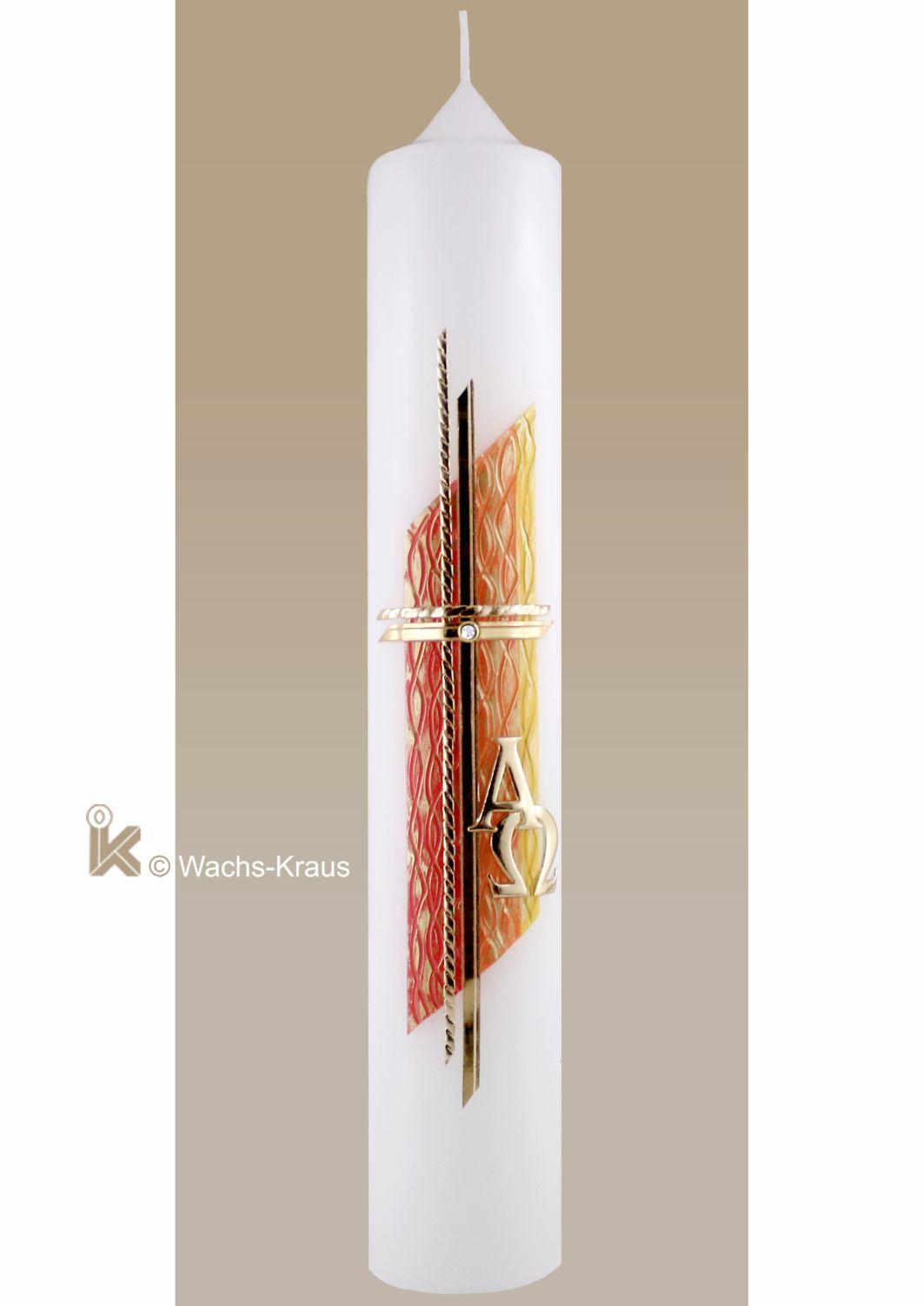 Moderne Taufkerze goldenes Kreuz auf oranger Strukturwachsplatte