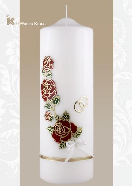 Schöne, schlichte Hochzeitskerze Rose