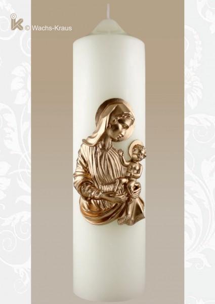 Fein modelliert und aus Wachs gegossen: Kerze Madonna mit Kind, Frontansicht