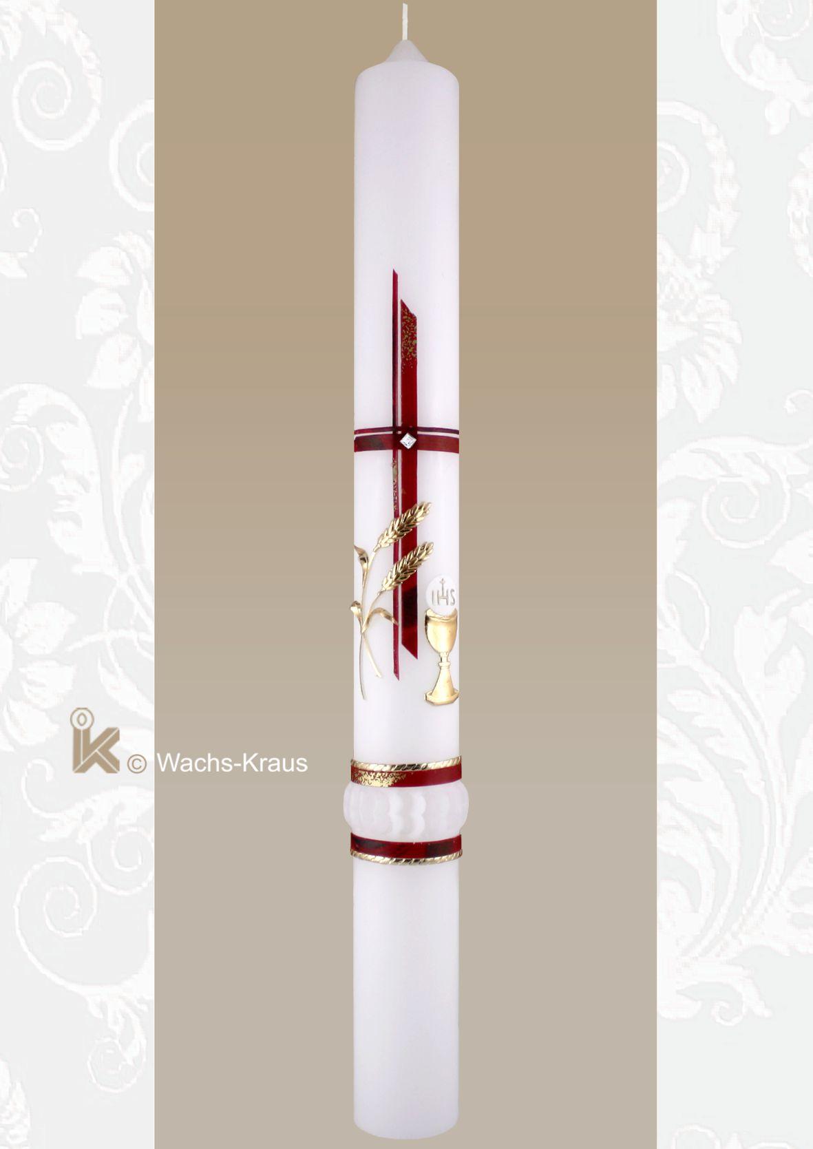 Rot marmorierte Kreuz mit einem kleinen Strassstein, der goldene Kelch mit Hostie, die goldenen Ähren unten gezwickt und Abschlussband rot -gold.