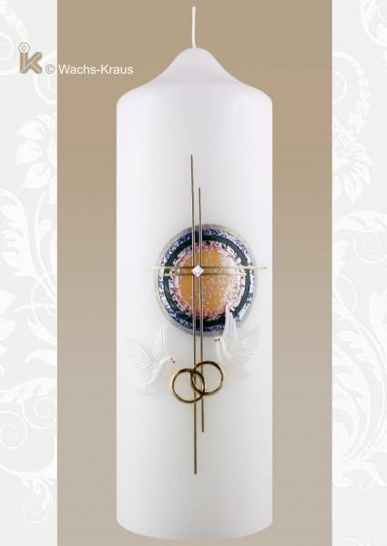 Hochzeitskerze Regenbogen Kreuz