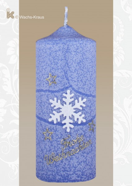 Weihnachtskerze Schneeflocke blau