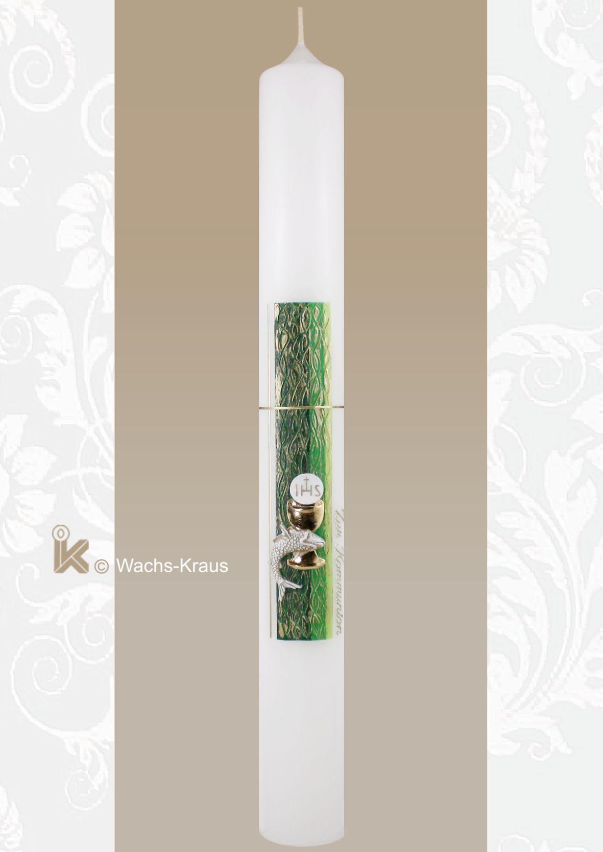 Auf der, extra entwickelten grünen Strukturwachsplatte sind ein zartes, goldfarbenes Kreuz, ein glänzend goldener Kelch mit Hostie