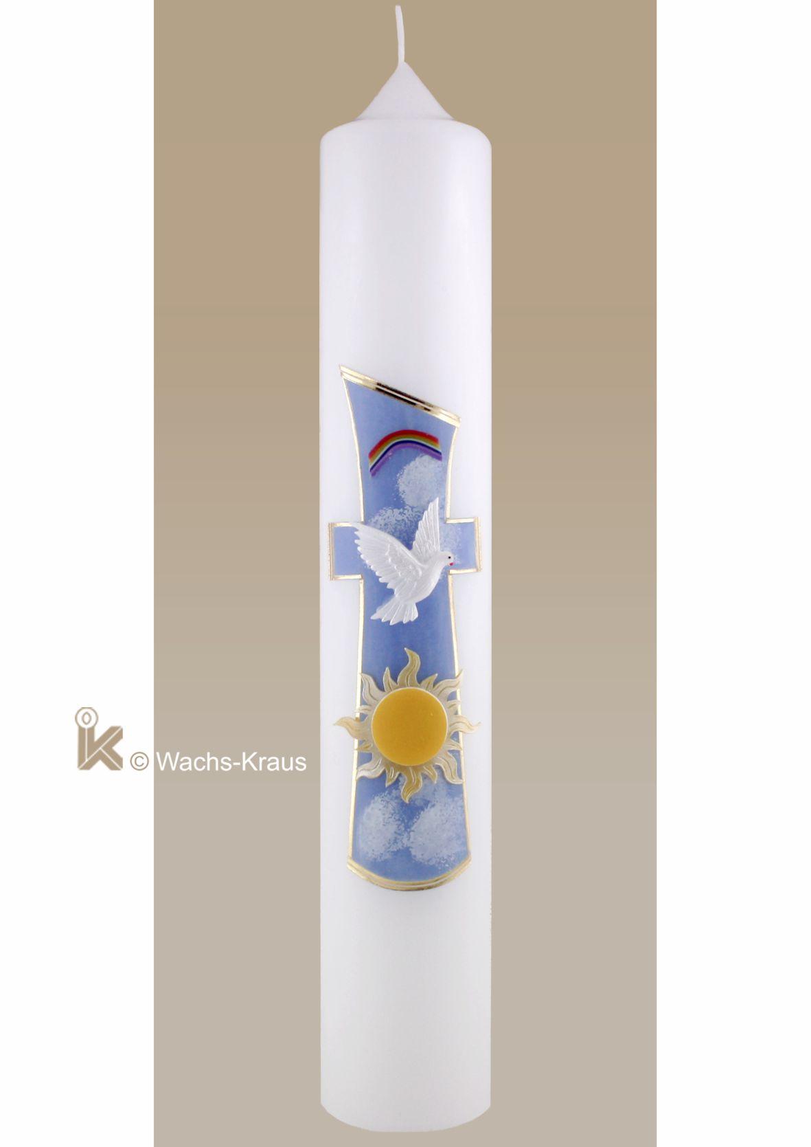 Bunte Taufkerze Kreuz, Sonne, Regenbogen für Mädchen und Jungen