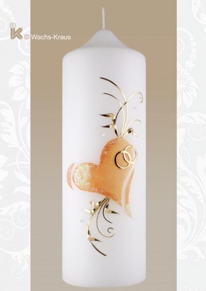 Hochzeitskerze Herz, apricot