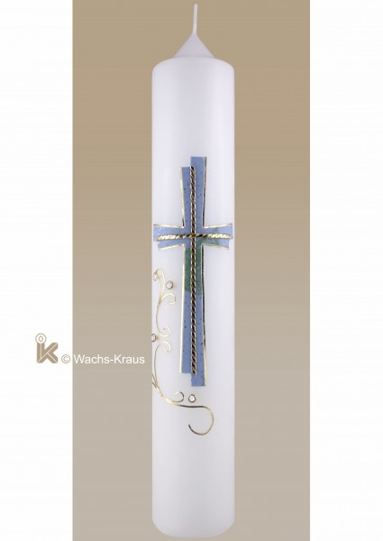 Taufkerze Junge modernes Kreuz, blau und gold