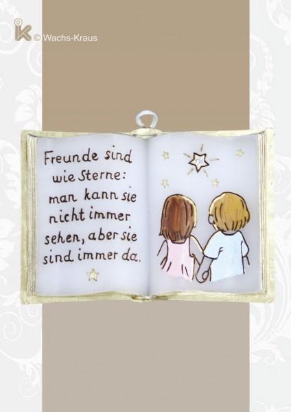 """Kleines Buch aus Wachs """"Freunde sind wie Sterne"""""""