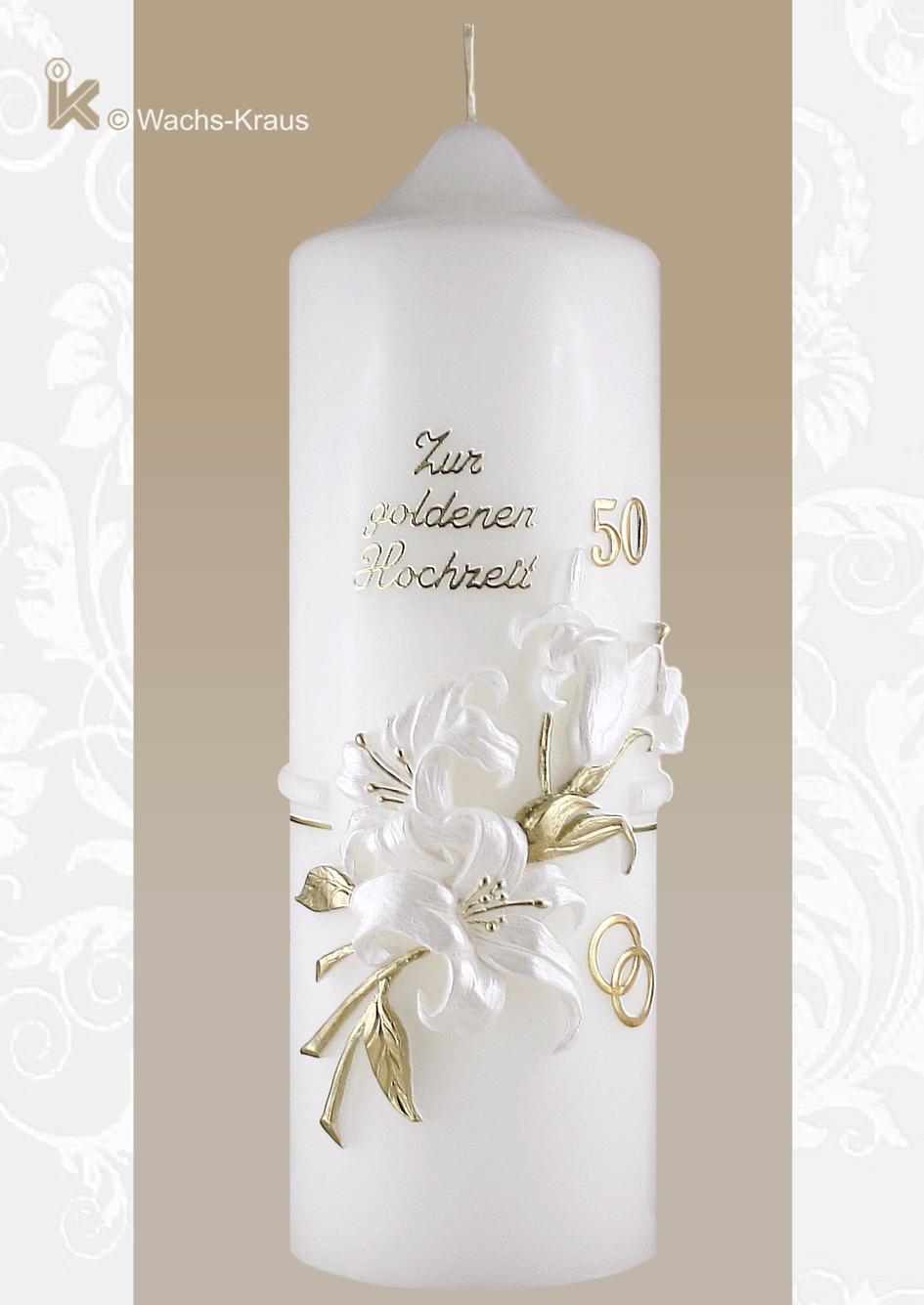 Mehr Stil und Geschmack kann man kaum in einer Kerze zur Goldenen Hochzeit vermitteln als mit dieser Jubiläumskerze der Extraklasse.