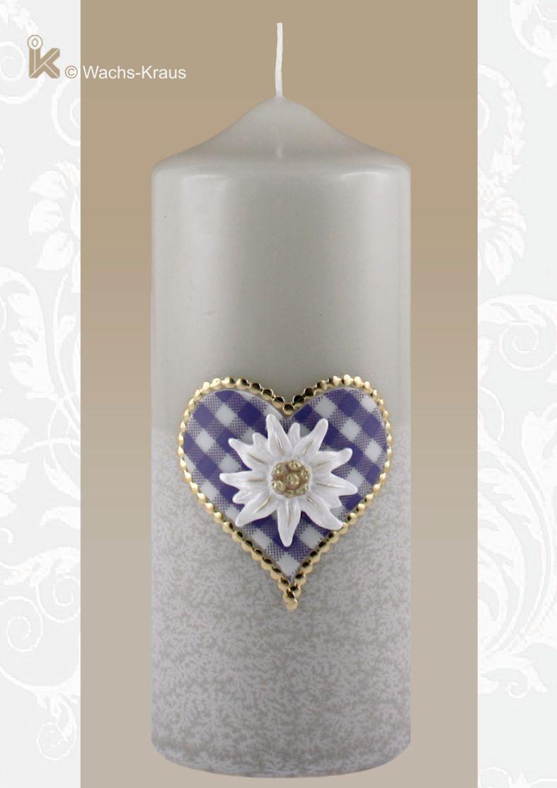 Kerze mit Edelweiss und kariertem Herz, blau