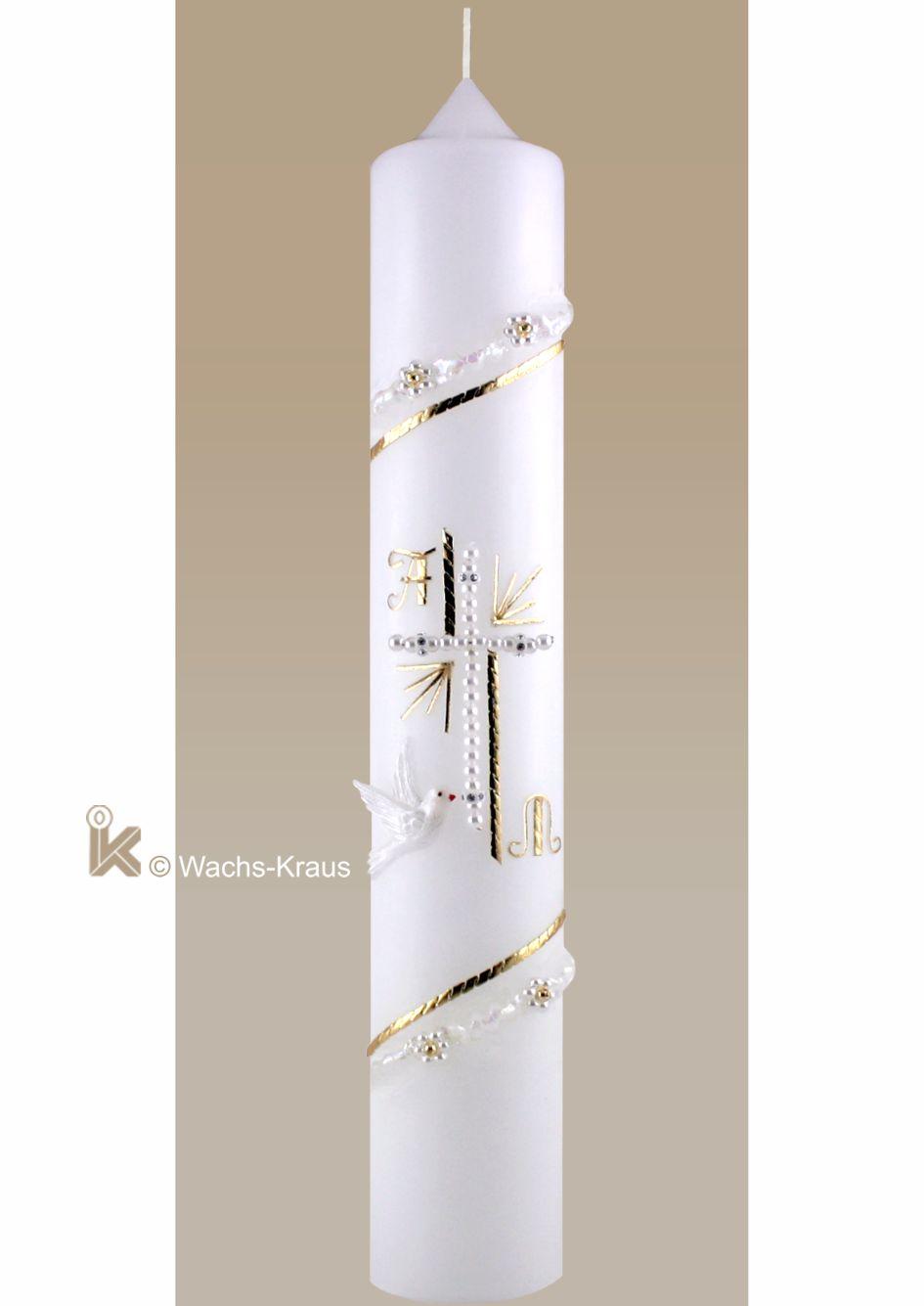 Klassische Taufkerze gold, gezwickt mit Perlenkreuz und Taube